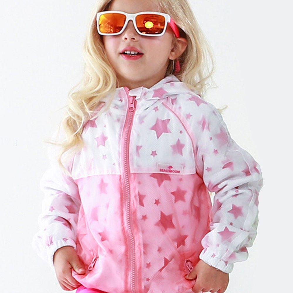 韓國 Beach Boom - 防曬透氣兒童夾克-滿佈星星-亮粉