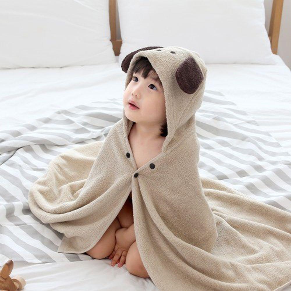 韓國 - 純棉造型浴巾袍-奶茶小狗 (68X120cm)