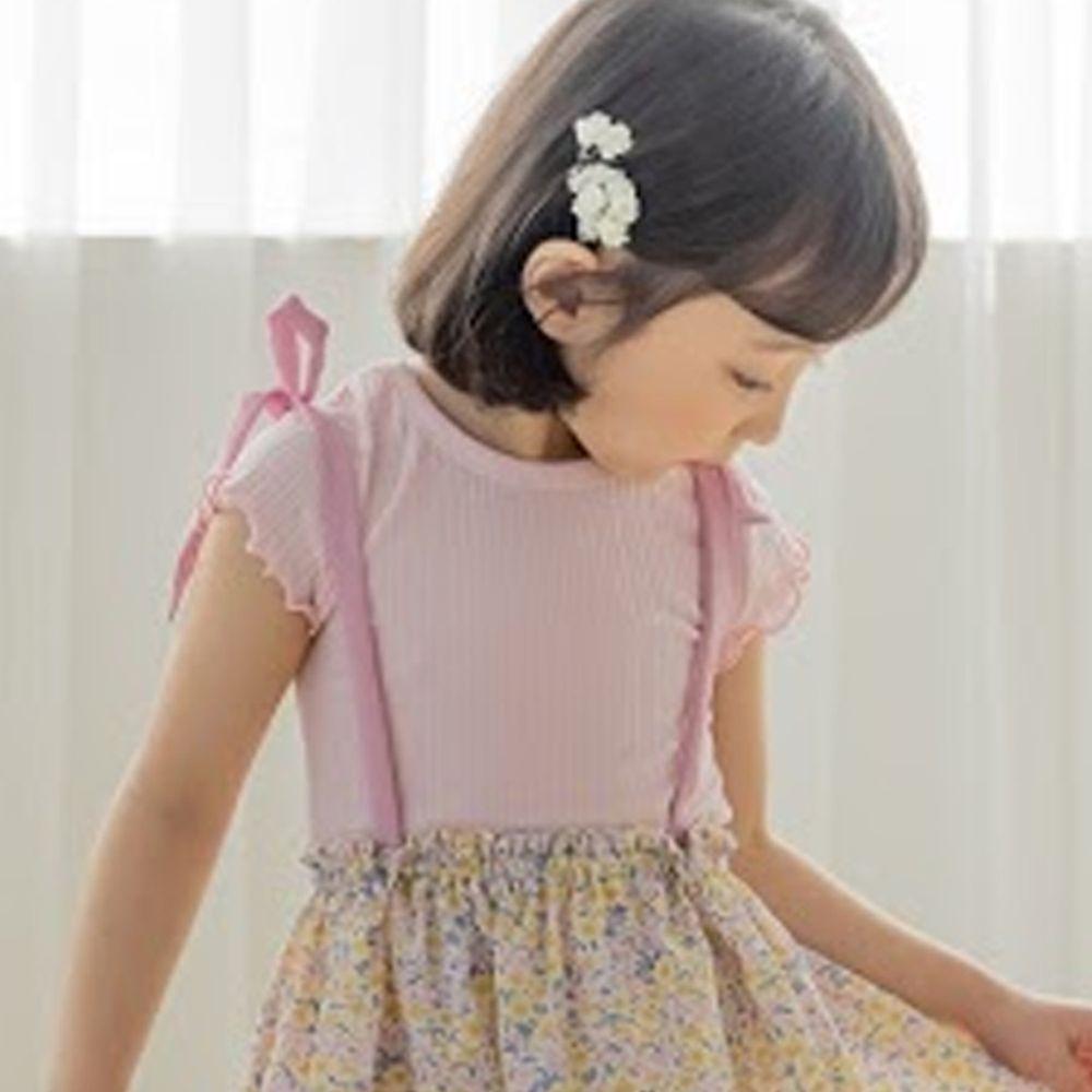 韓國 Orange Mom - 捲邊皺摺感彈性上衣-粉紅