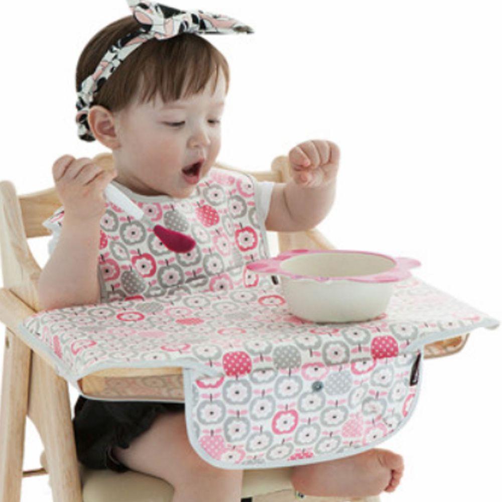 韓國 Babyclo - 防水圍兜餐墊攜帶組(附收納袋)-粉紅圈圈