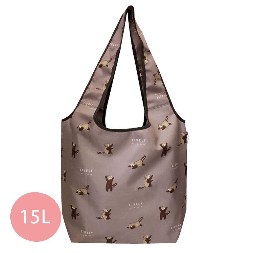 日本 Chepeli - 大容量保冷購物袋(可折疊收納)-浣熊-灰粉-15L/耐重10kg