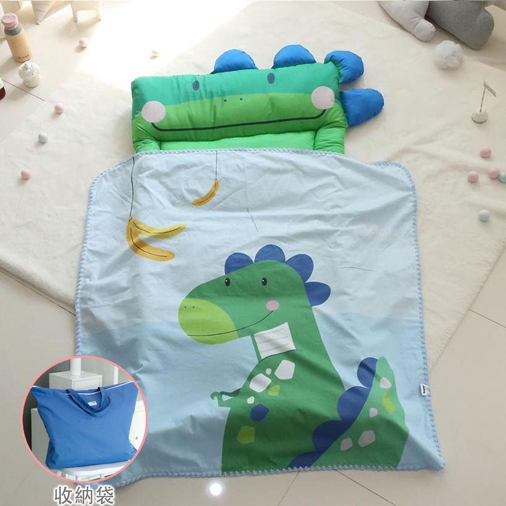 韓國 Teepee - 5CM雙面厚墊兒童睡袋/寢具(無拉鏈)(附收納袋)-香蕉小恐龍