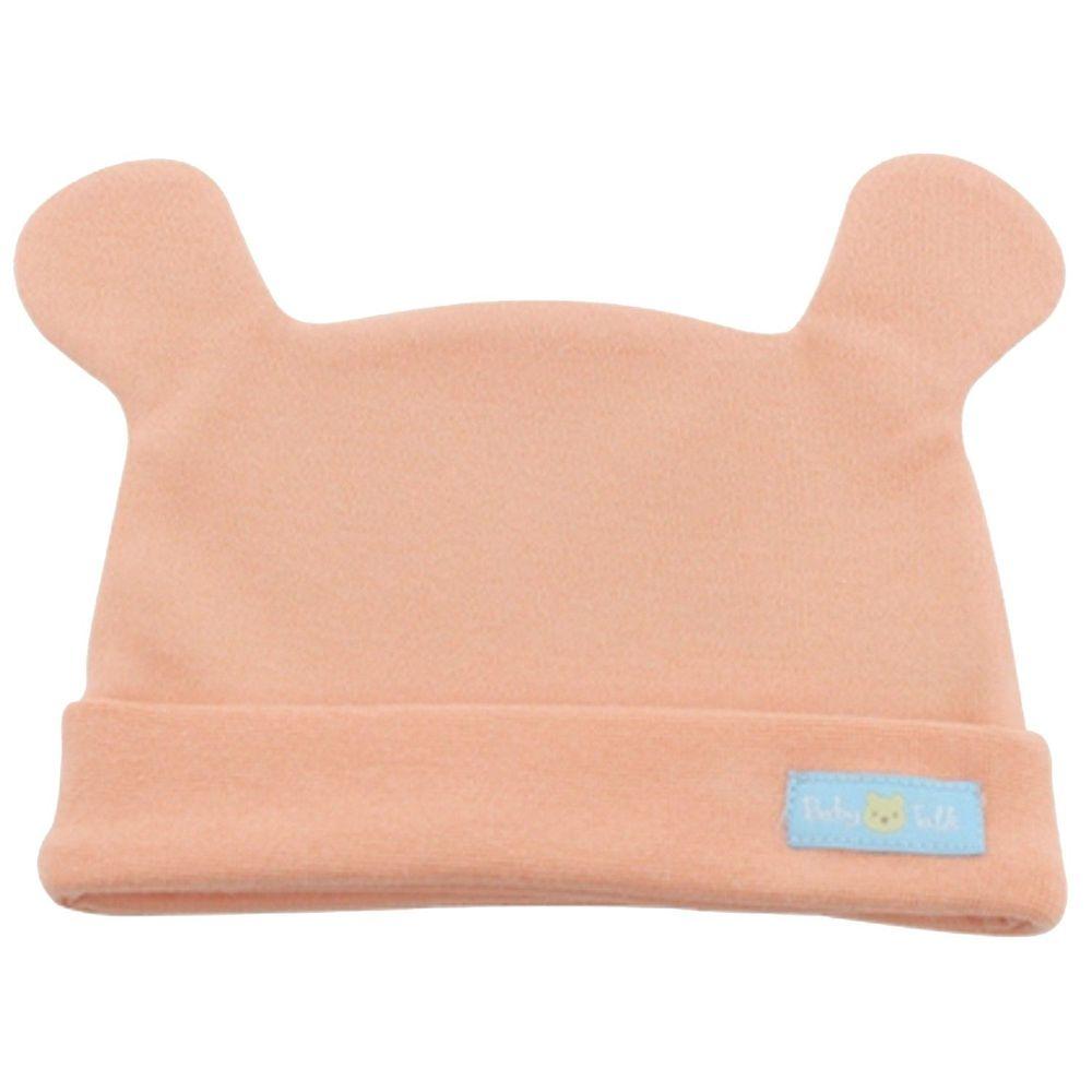 BABY TALK - 100%台灣精梳棉40支紗新生兒帽-熊熊帽-粉橘