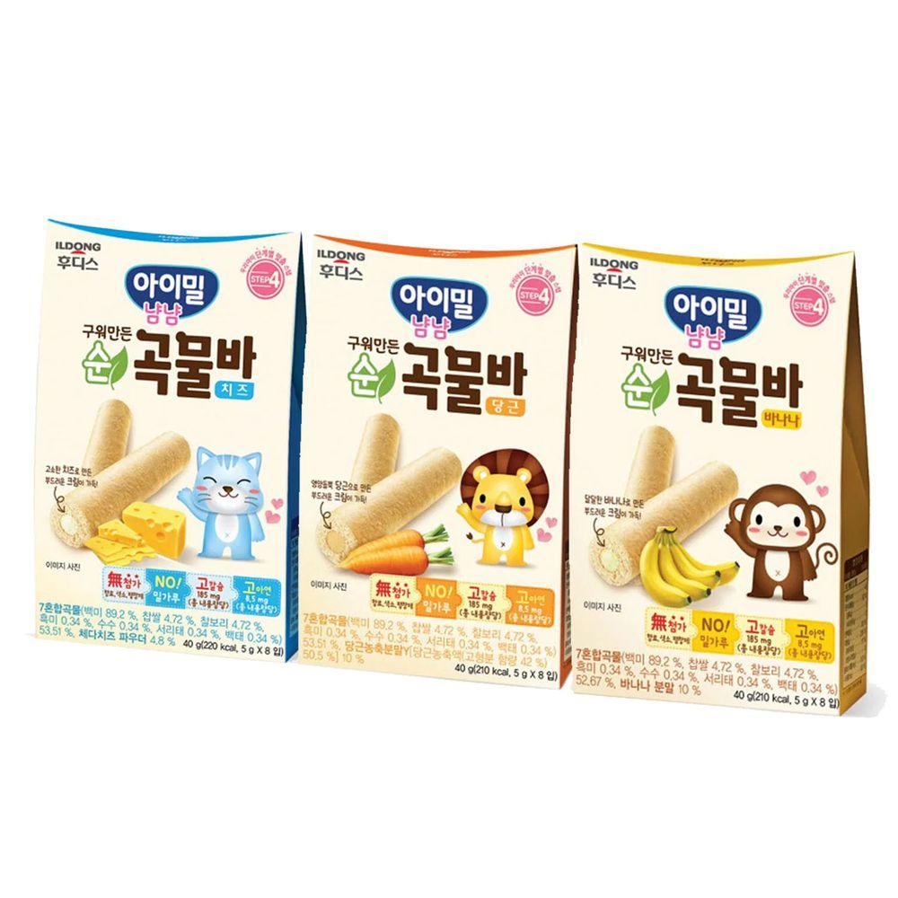 韓國Ildong Foodis日東 - 穀物小捲心3入組-香蕉*1+胡蘿蔔*1+起司*1