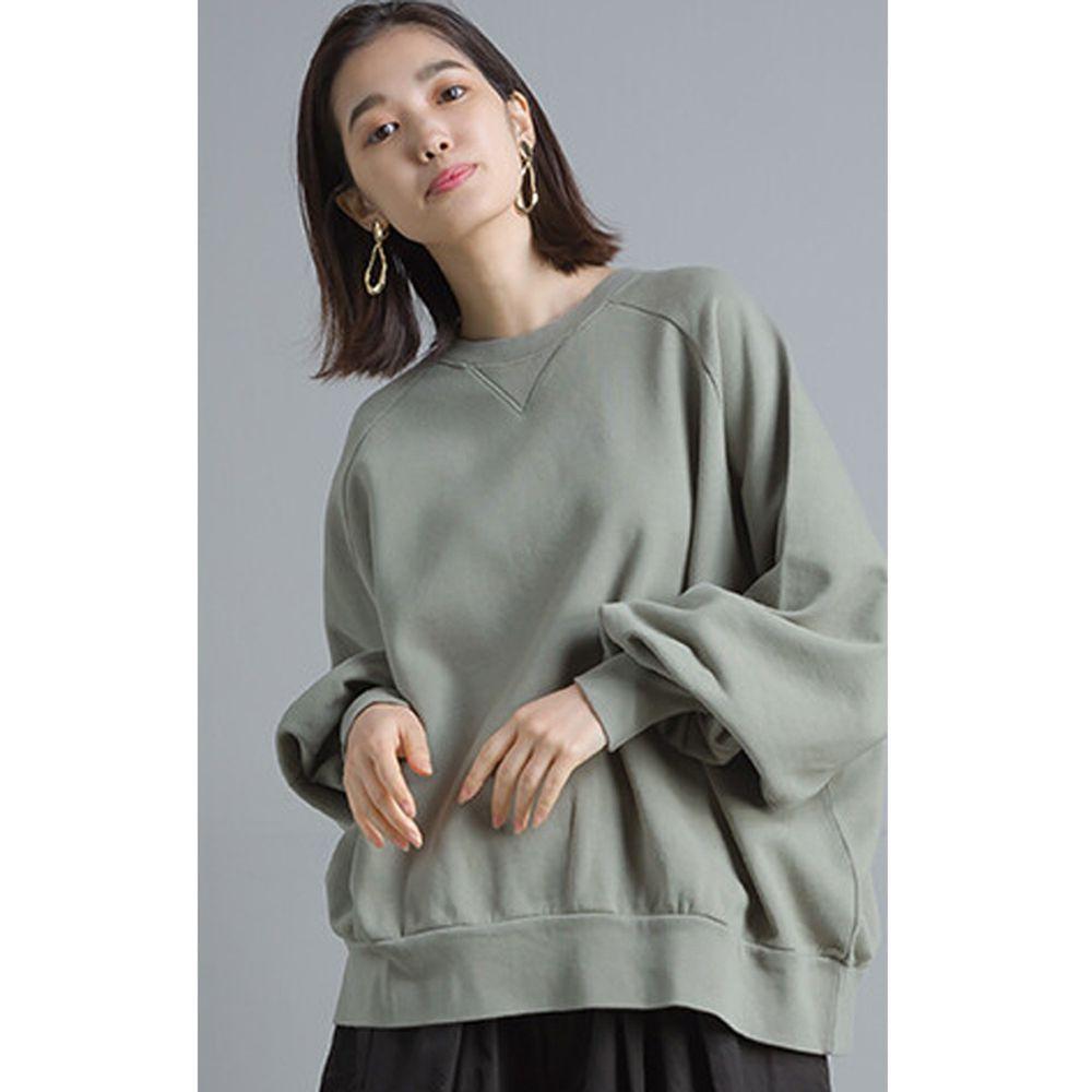 日本女裝代購 - 質感純棉裏毛印花大學T-灰綠
