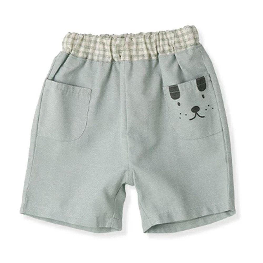 日本 ZOOLAND - 純棉印花五分褲-小狗格紋-薄荷