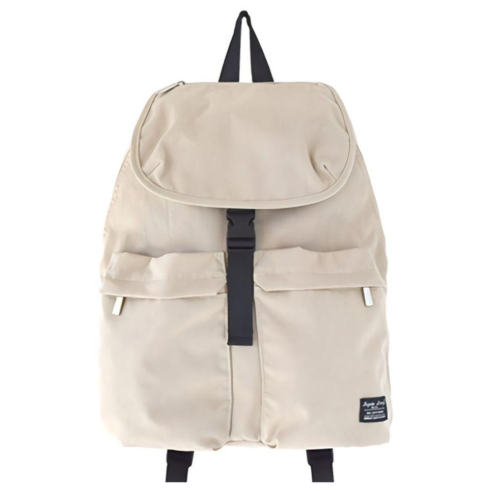 日本 Legato Largo - 撥水扣翻式防水尼龍後背包-BE米白 (25x38x15cm)