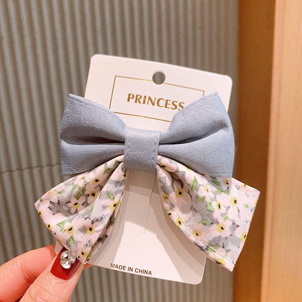 公主碎花大蝴蝶結髮夾-藍色
