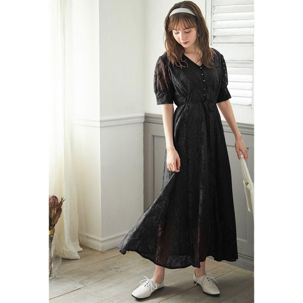 日本 GRL - 氣質蕾絲五分袖V領洋裝-時尚黑
