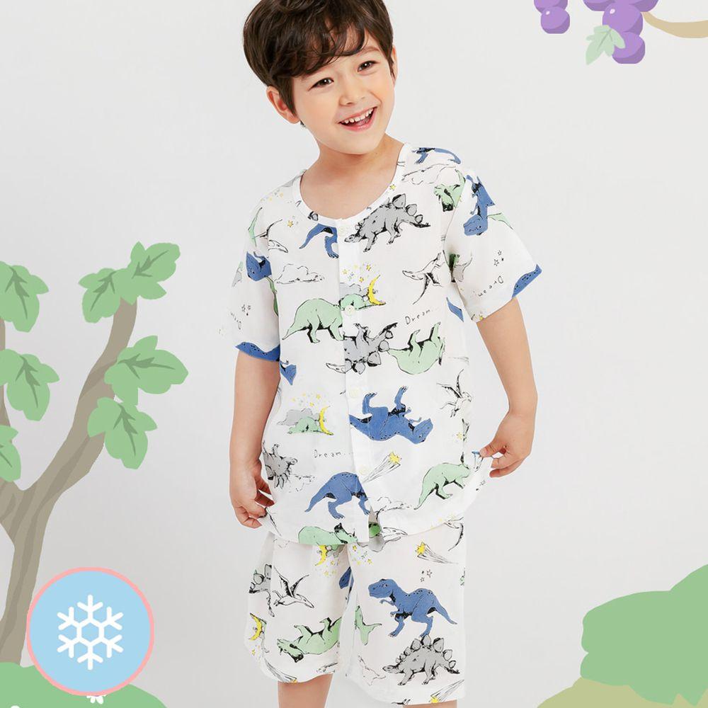 韓國 Mellisse - 韓製涼感嫘縈短袖睡衣/家居服-月光恐龍