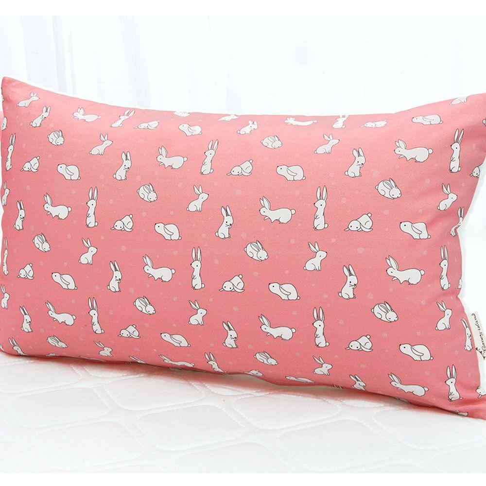 韓國 Coney Island - 雙面材質抗菌防蟎水洗枕頭-粉紅小兔 (50X30cm)-枕套*1 + 枕芯*1