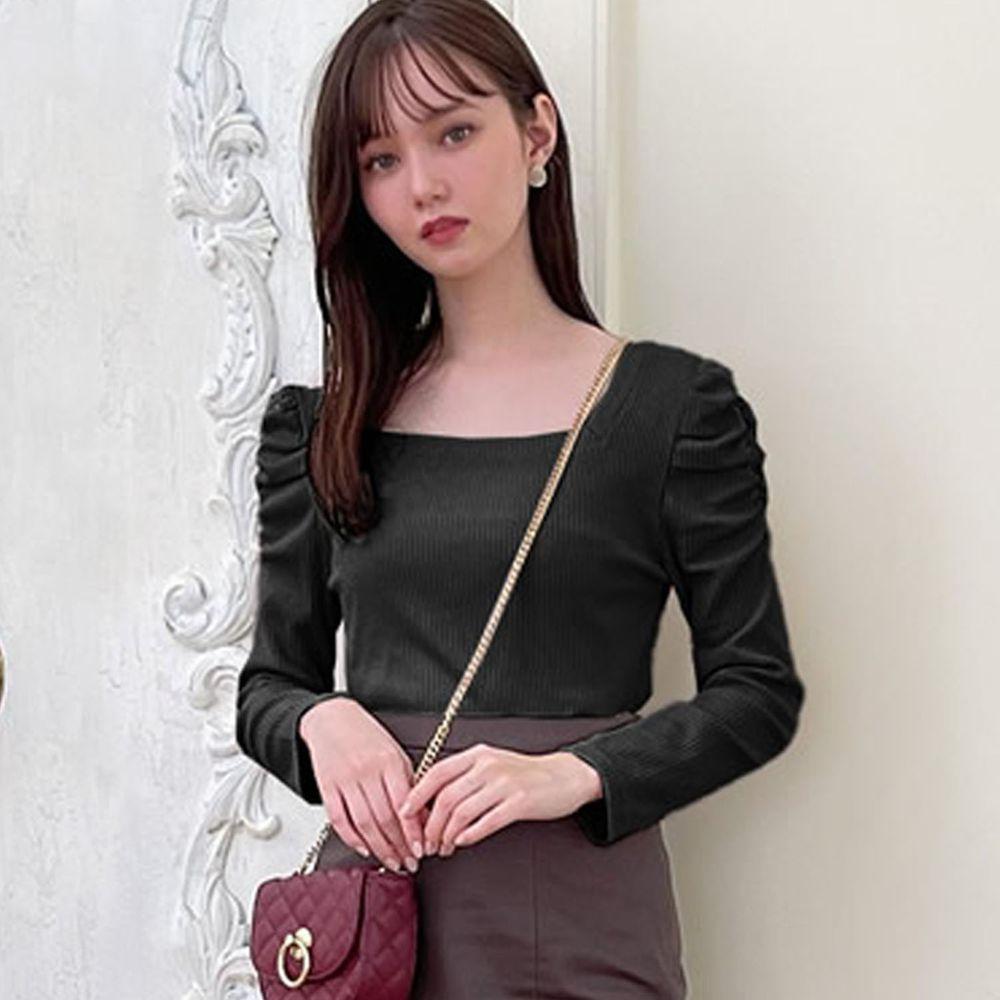 日本 GRL - 美背交叉綁帶蝴蝶結抓皺羅紋長袖上衣-黑