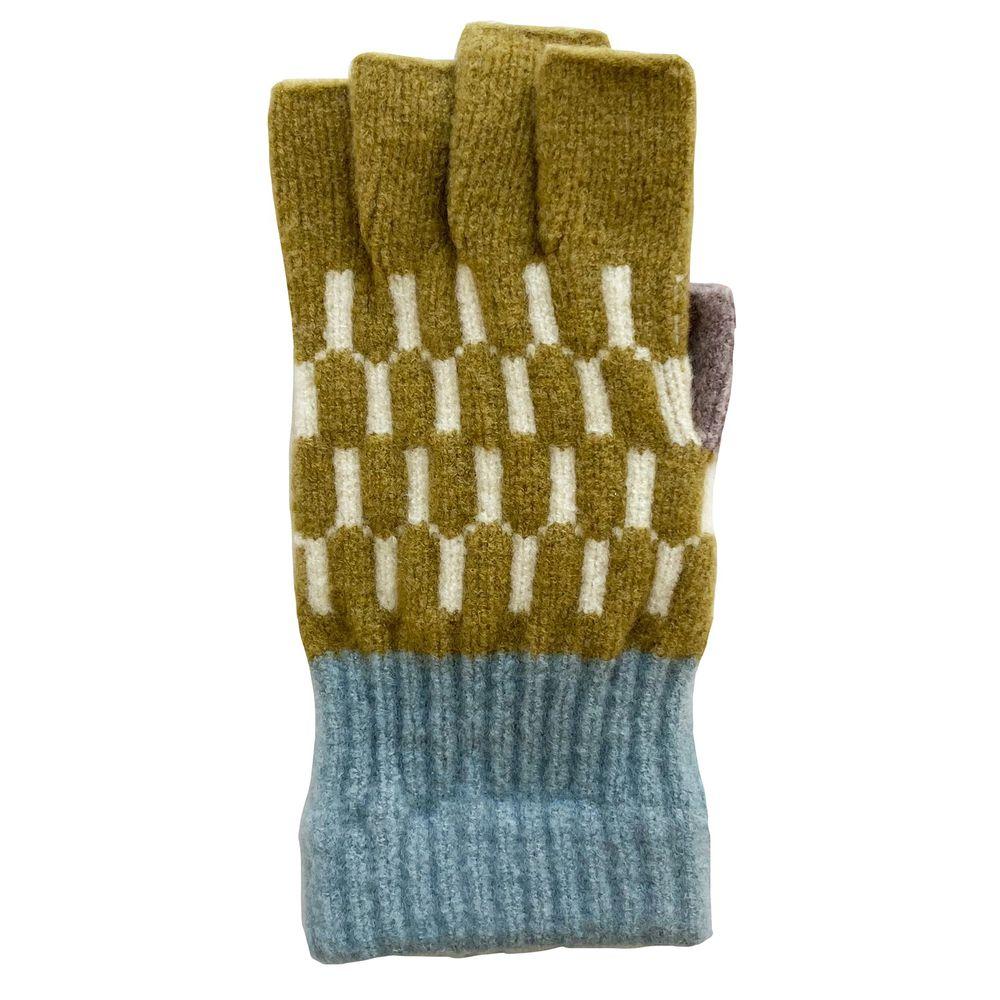 日本 BISQUE - 日本製可觸控保暖手套(成人款)-露指式-交錯編織芥末