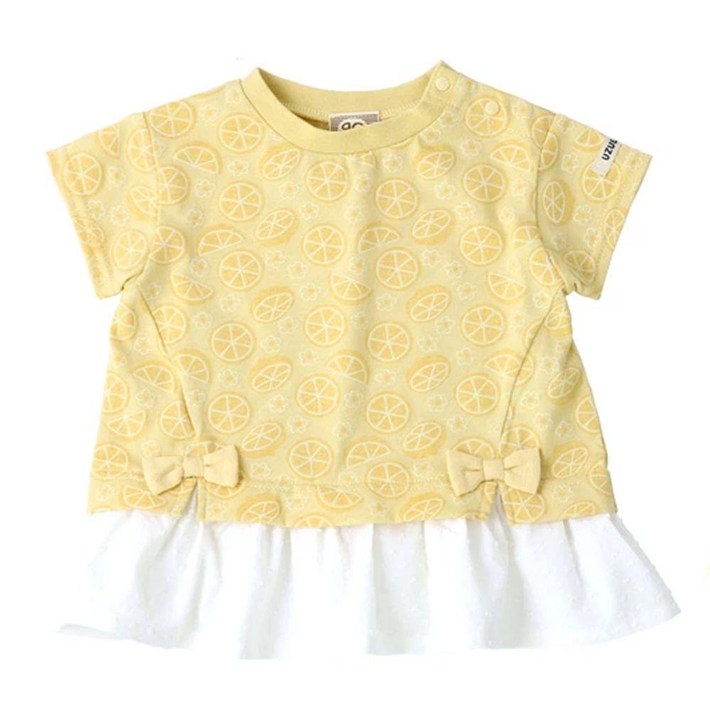 日本 ZOOLAND - 拼接短T-滿版檸檬水玉裙蝴蝶結-黃