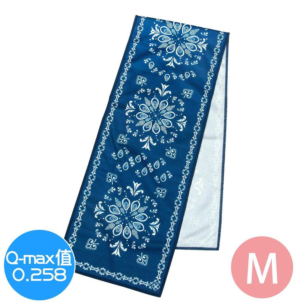 日本 DAIKAI - 抗UV接觸冷感 水涼感巾-圖騰-深藍 (M(80x15cm))