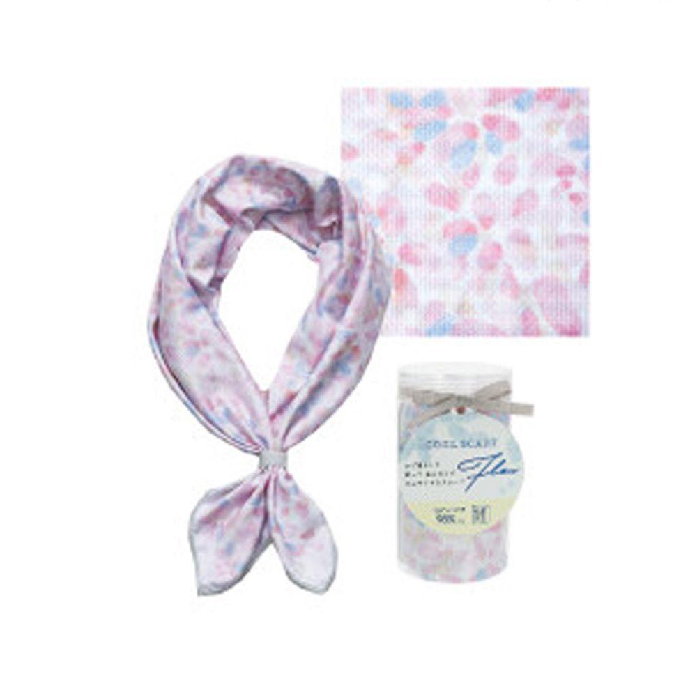 日本現代百貨 - 抗UV水涼感方巾/領巾(附收納罐)-水彩花瓣/條紋-粉 (54x54cm)