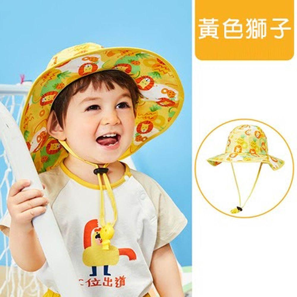韓國lemonkid - 渡假風印花帽-黃色獅子