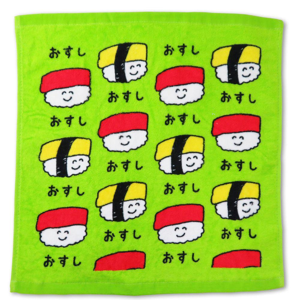 日本 OKUTANI - 童趣插畫方巾/手帕-壽司-綠 (34x35cm)