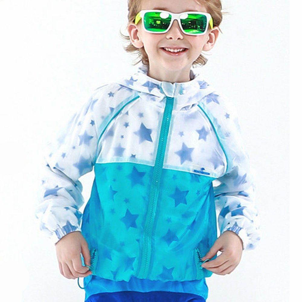 韓國 Beach Boom - 防曬透氣兒童夾克-滿佈星星-水藍