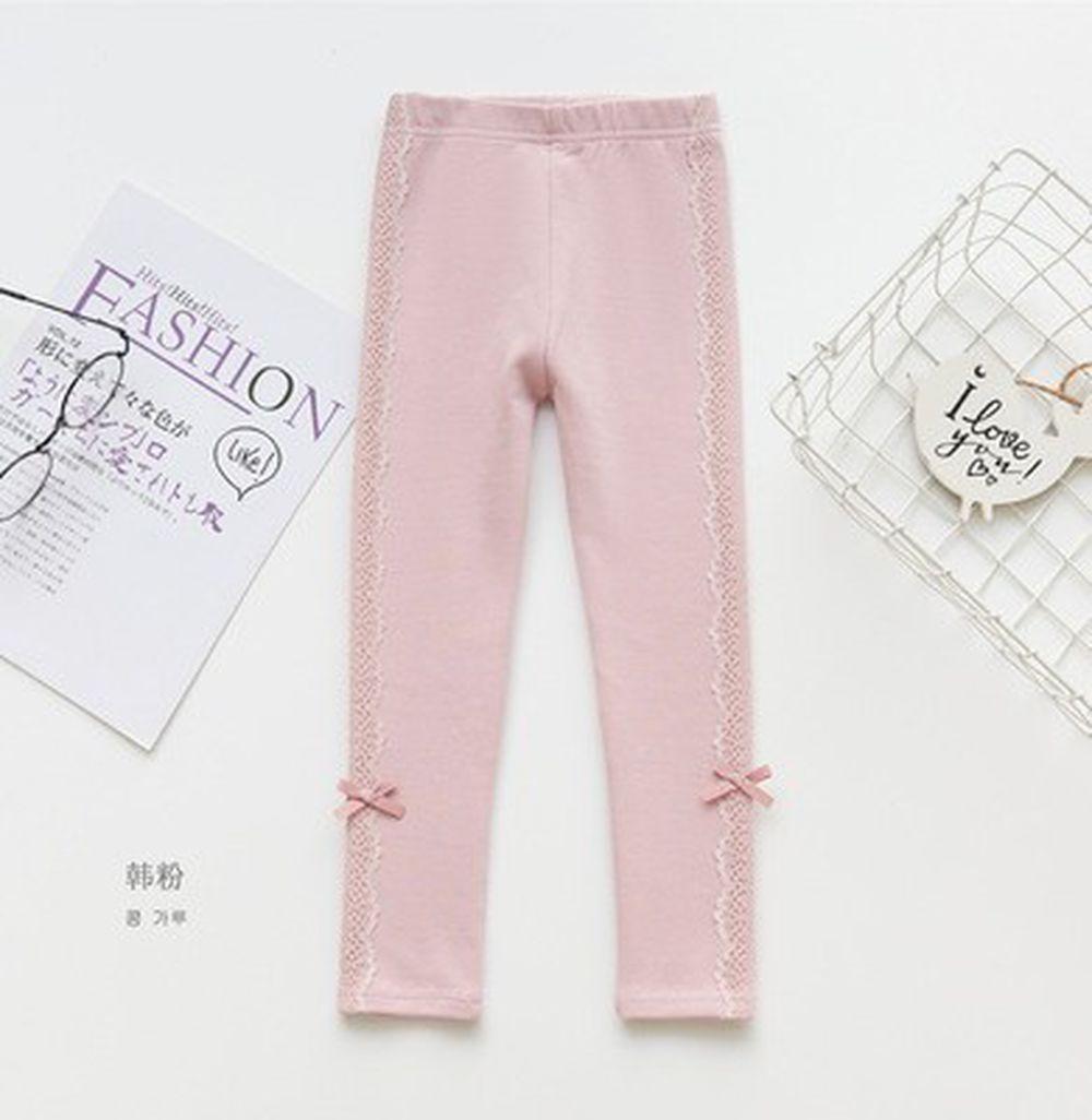 FANMOU - 內搭褲-蕾絲結-粉色