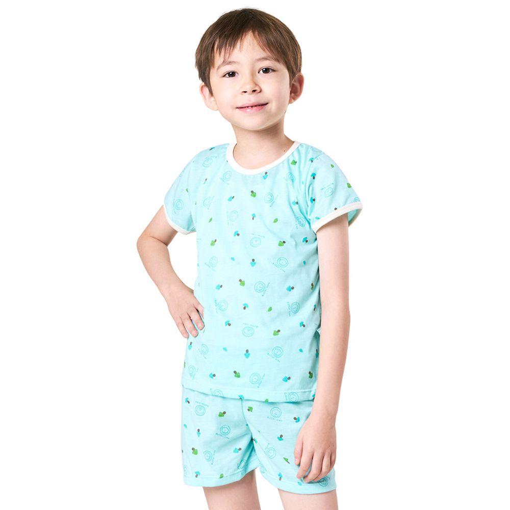 GIAT - 奶油獅短袖居家套裝(上衣+短褲)-湖水綠