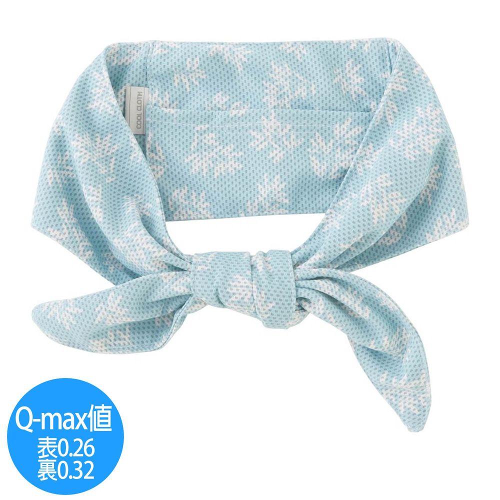 日本小泉 - UV cut 90% 接觸冷感 水涼感領巾(附保冷劑)-清新樹葉-天藍 (8.5x88cm)