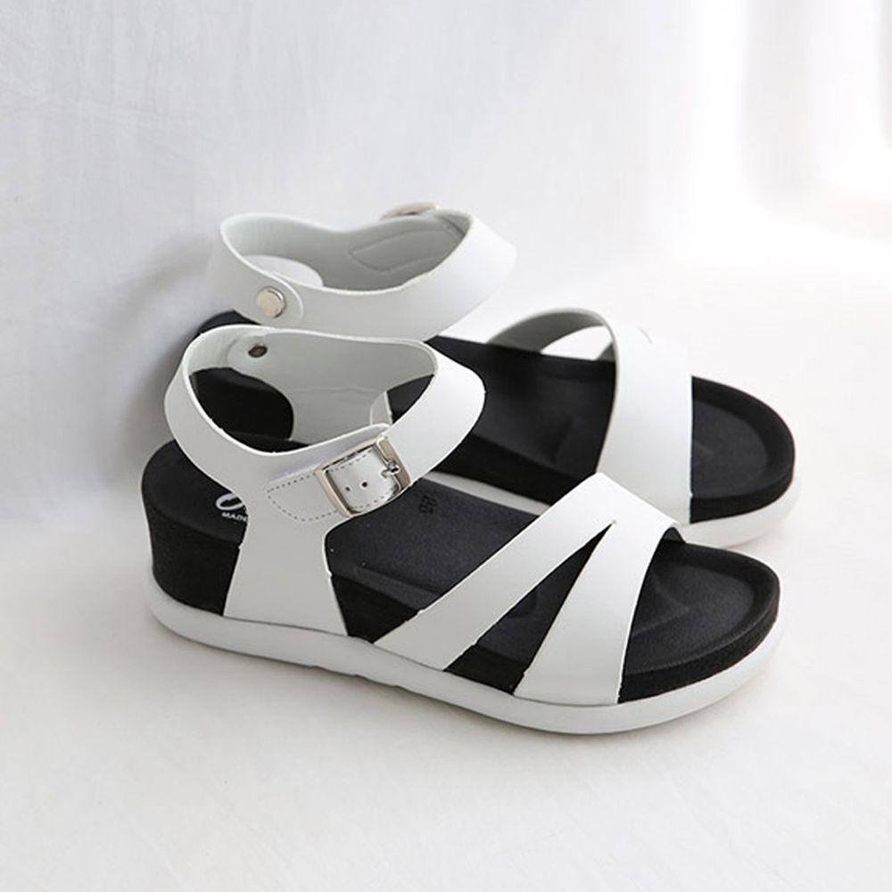 韓國 Dangolunni - 剪刀開衩軟後底涼鞋(5.5cm高)-白