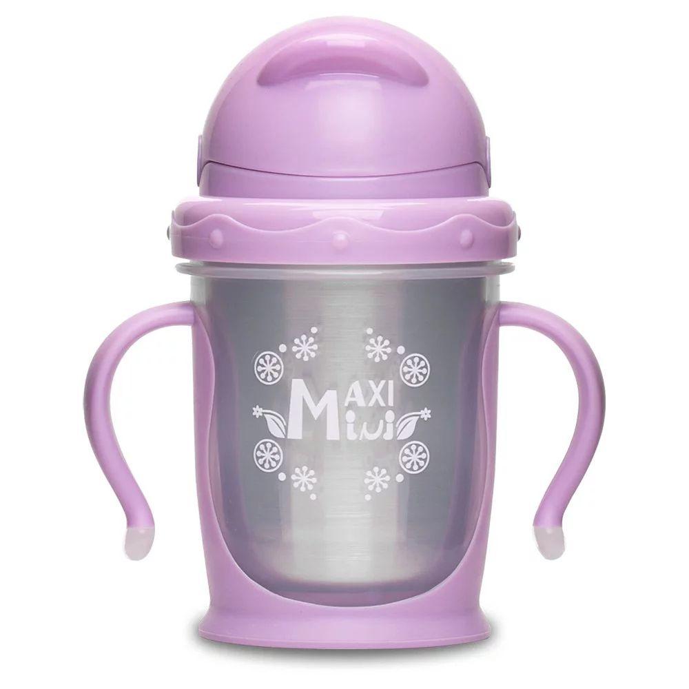 美國 MaxiMini - 嬰幼兒抗菌不鏽鋼彈跳吸管水壺-馬卡龍紫