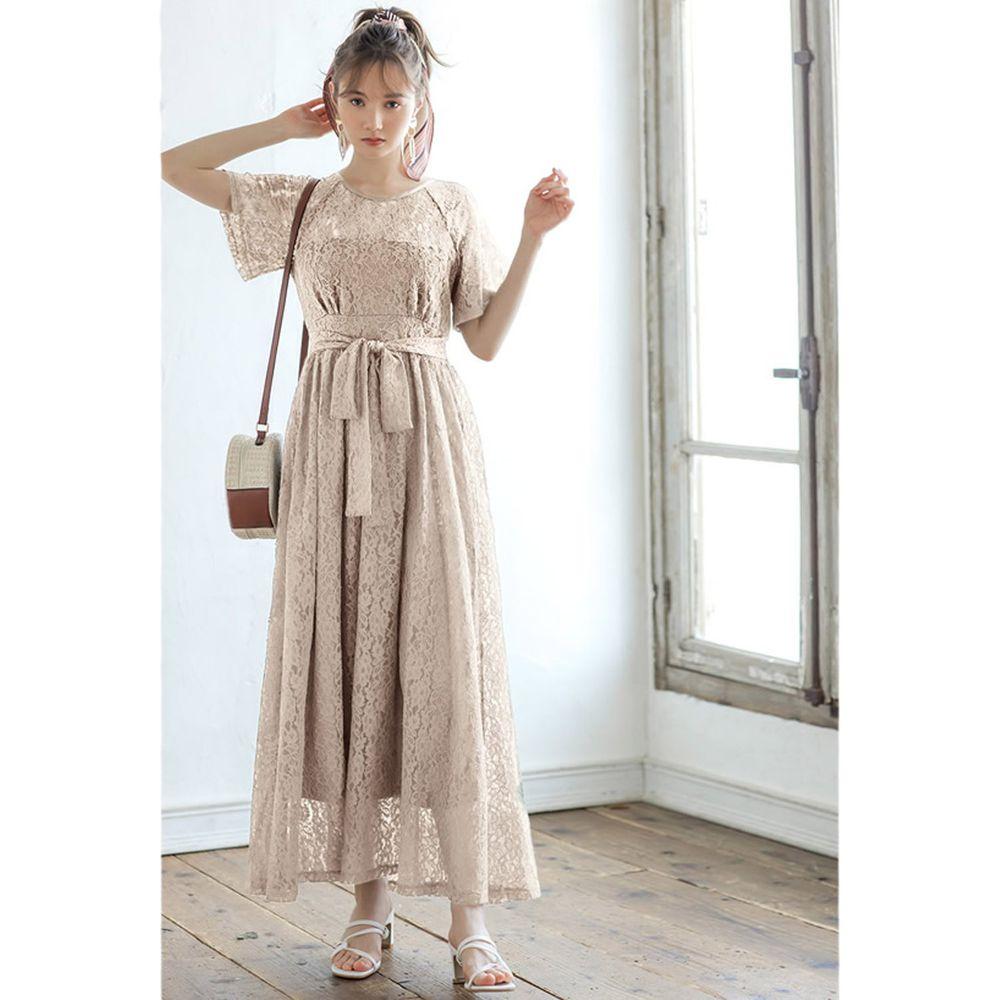 日本 GRL - 優雅蕾絲腰間綁帶短袖洋裝-氣質杏