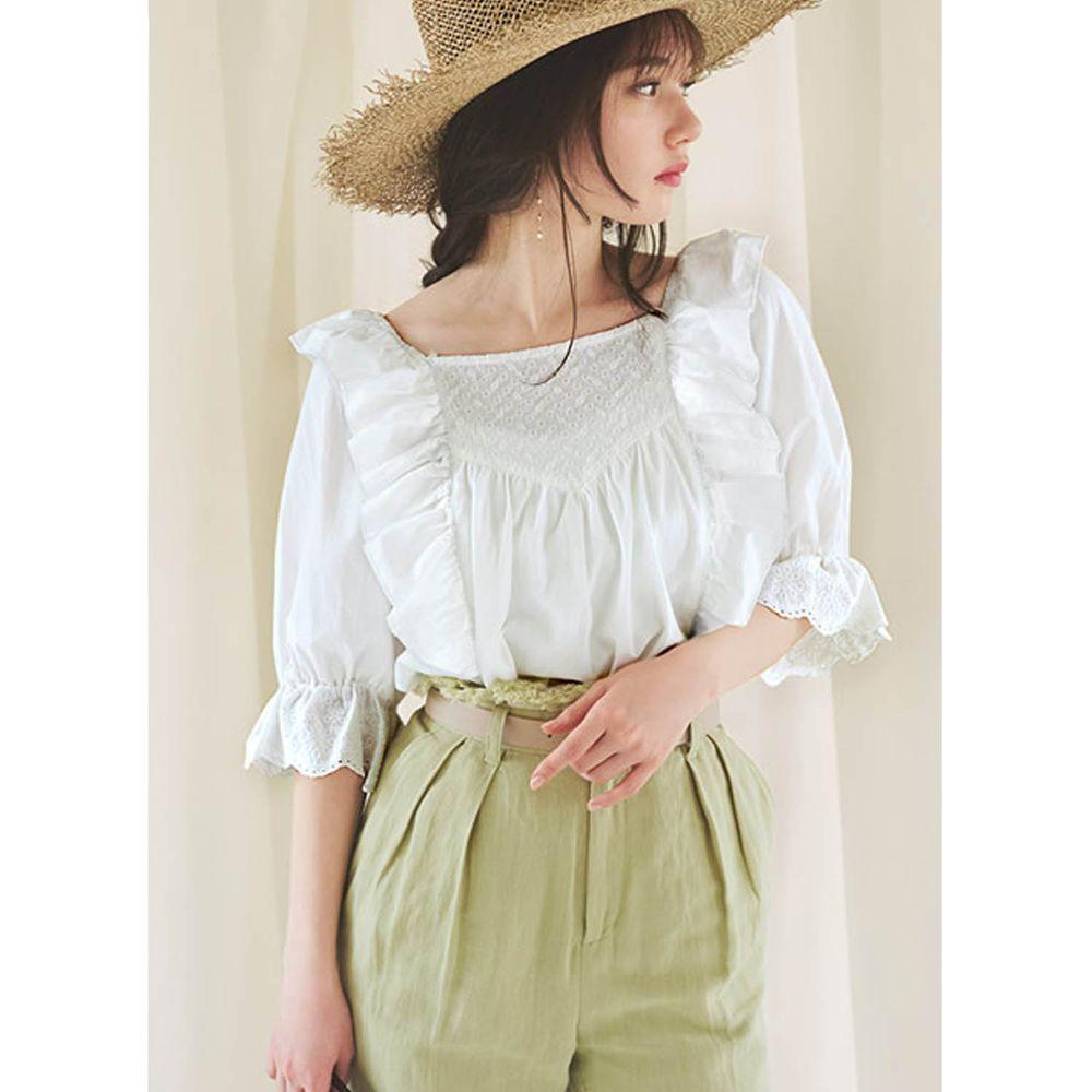 日本 GRL - 荷葉層次方領後蝴蝶結綁帶五分袖上衣-天使白