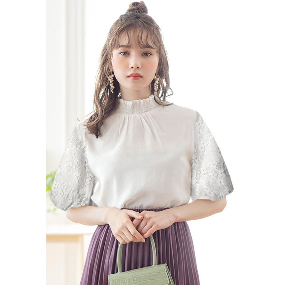 日本 GRL - 花朵蕾絲五分袖上衣-天使白