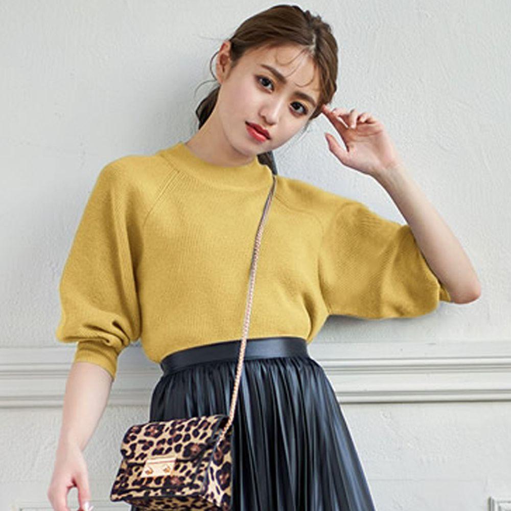 日本 GRL - 小高圓領七分袖薄款針織上衣-黃