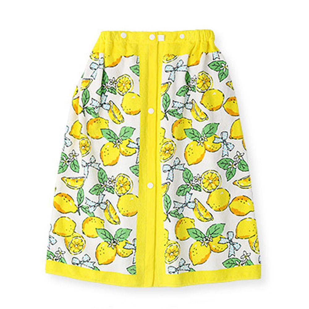 日本 ZOOLAND - 純棉海灘/游泳浴巾/浴袍 (附釦)-A檸檬-黃 (長60cm(幼稚園~國小低年級))