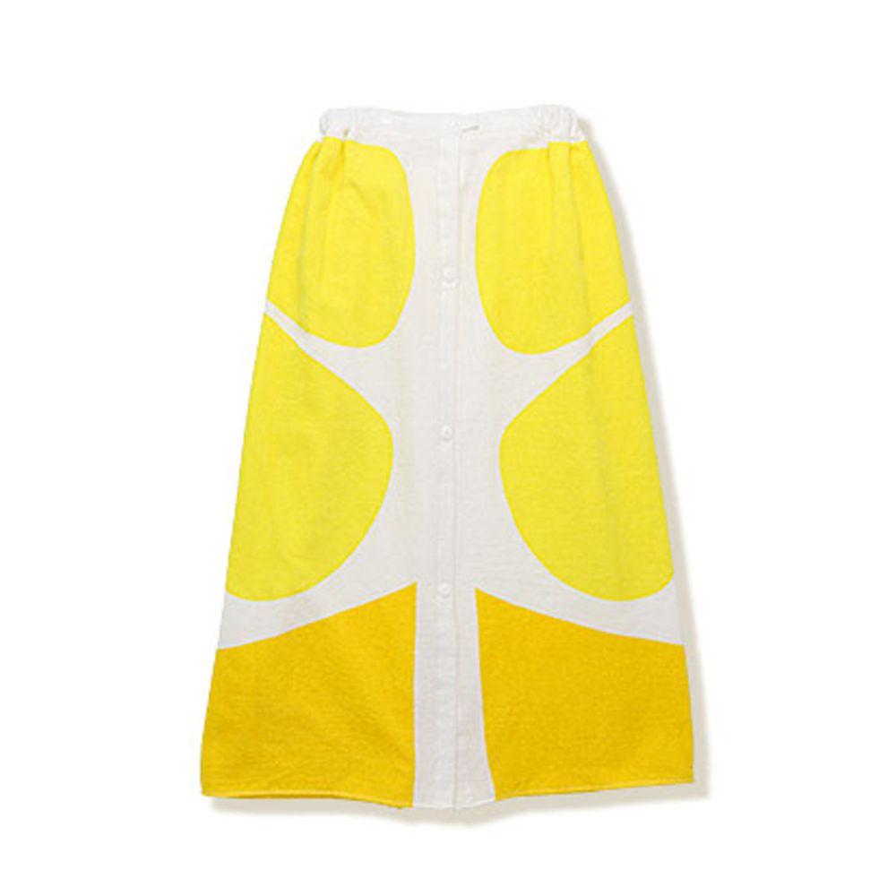 日本 ZOOLAND - 純棉海灘/游泳浴巾/浴袍 (附釦)-C檸檬 (長80cm(國小中年級以上))