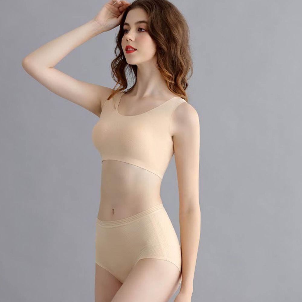 香茉 CHANMODE - 冰絲孔洞透氣蠶絲無鋼圈內衣-單套組-無鋼圈內衣套組-膚-內衣+內褲x1套