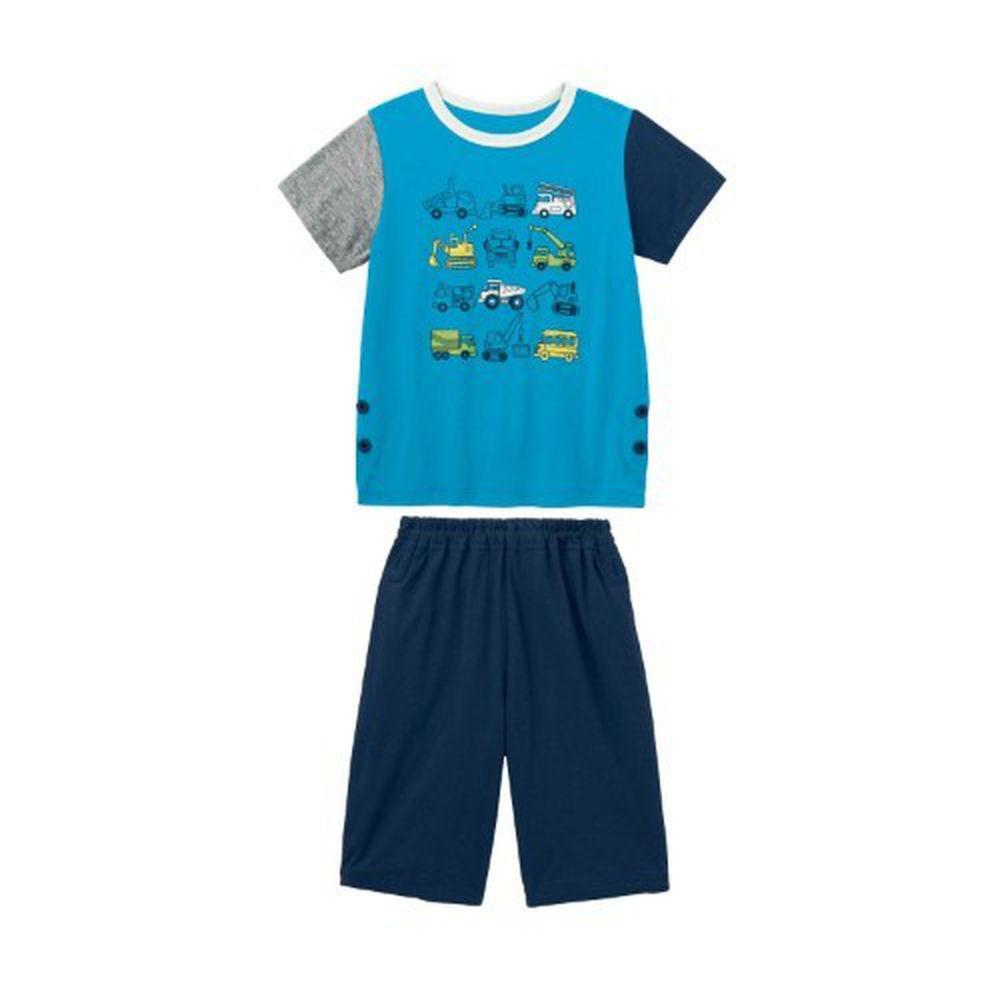 日本千趣會 - GITA 天竺棉舒適短袖家居服-工具車集合-水藍