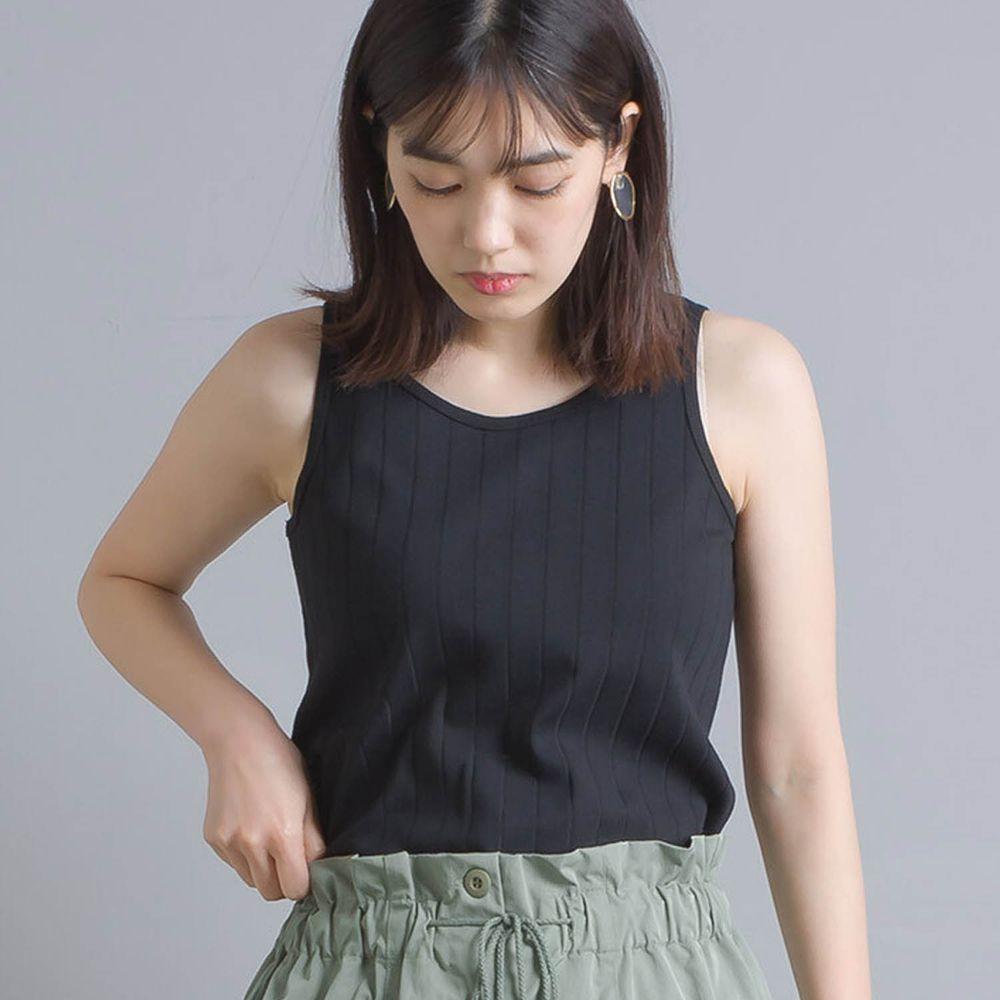 日本 OMNES - 防透汗加工 粗羅紋背心-黑