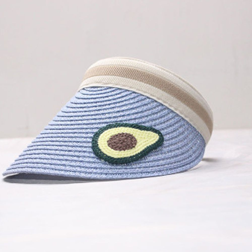 鴨舌遮陽草帽-水藍酪梨 (小孩款(46-53cm))
