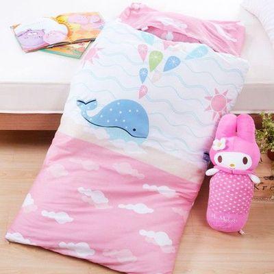 MIT純棉冬夏兩用兒童睡袋-藍鯨海洋