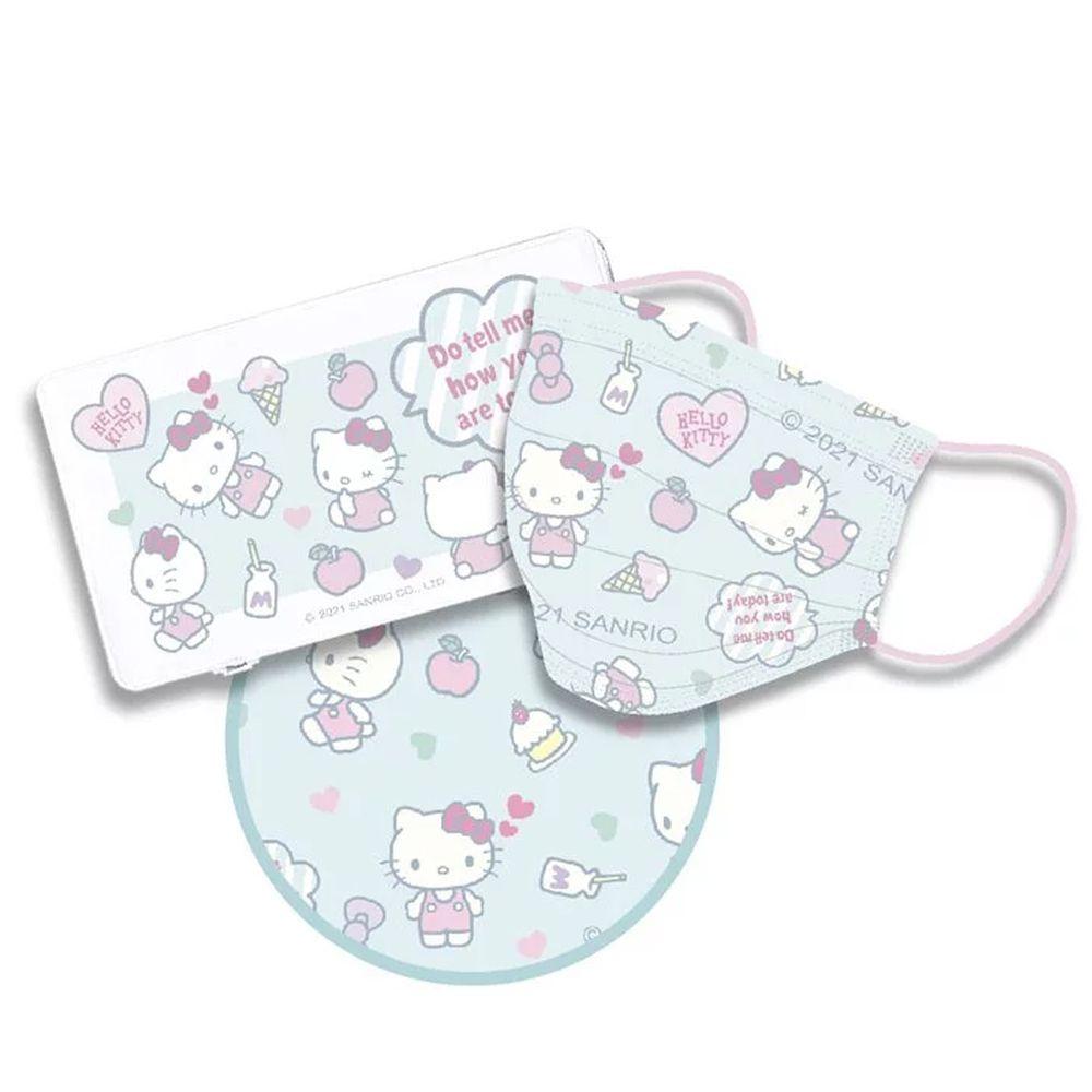 Hong Man - 三麗鷗系列Hello Kitty-成人平面防護防塵口罩+隨身口罩收納盒-藍色 (17.5x9.5cm)-10片/入(未滅菌)+收納盒/個
