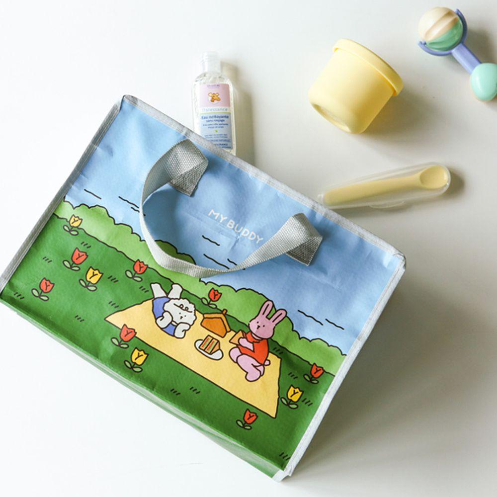 韓國 Daily Like - 拉鍊衣物/玩具收納袋(1入)(小)-野餐 (35X25X15cm)