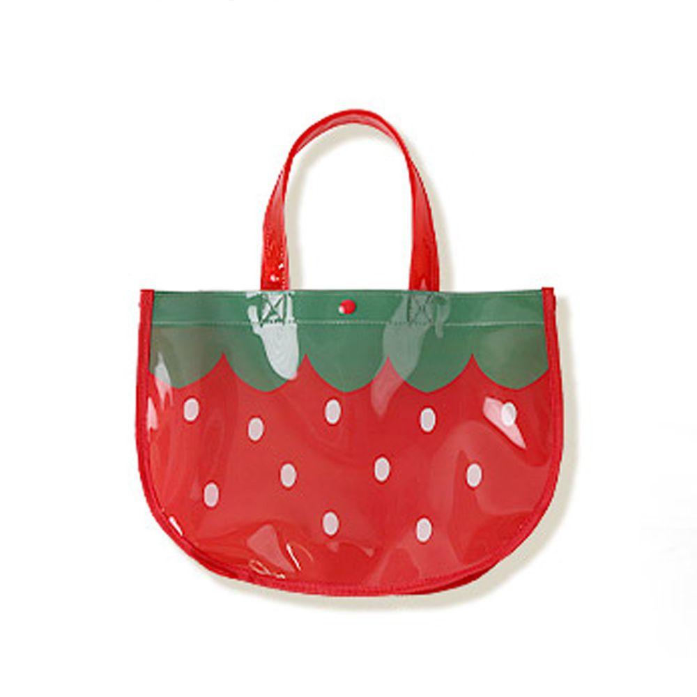 日本 ZOOLAND - 防水PVC手提袋/游泳包-I草莓 (25x34x11cm)
