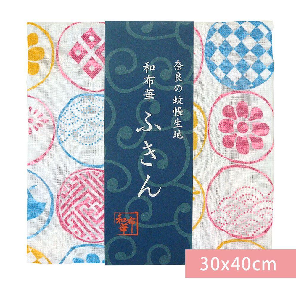 日本代購 - 【和布華】日本製奈良五重紗 方巾-和小紋-粉橘藍 (30x40cm)