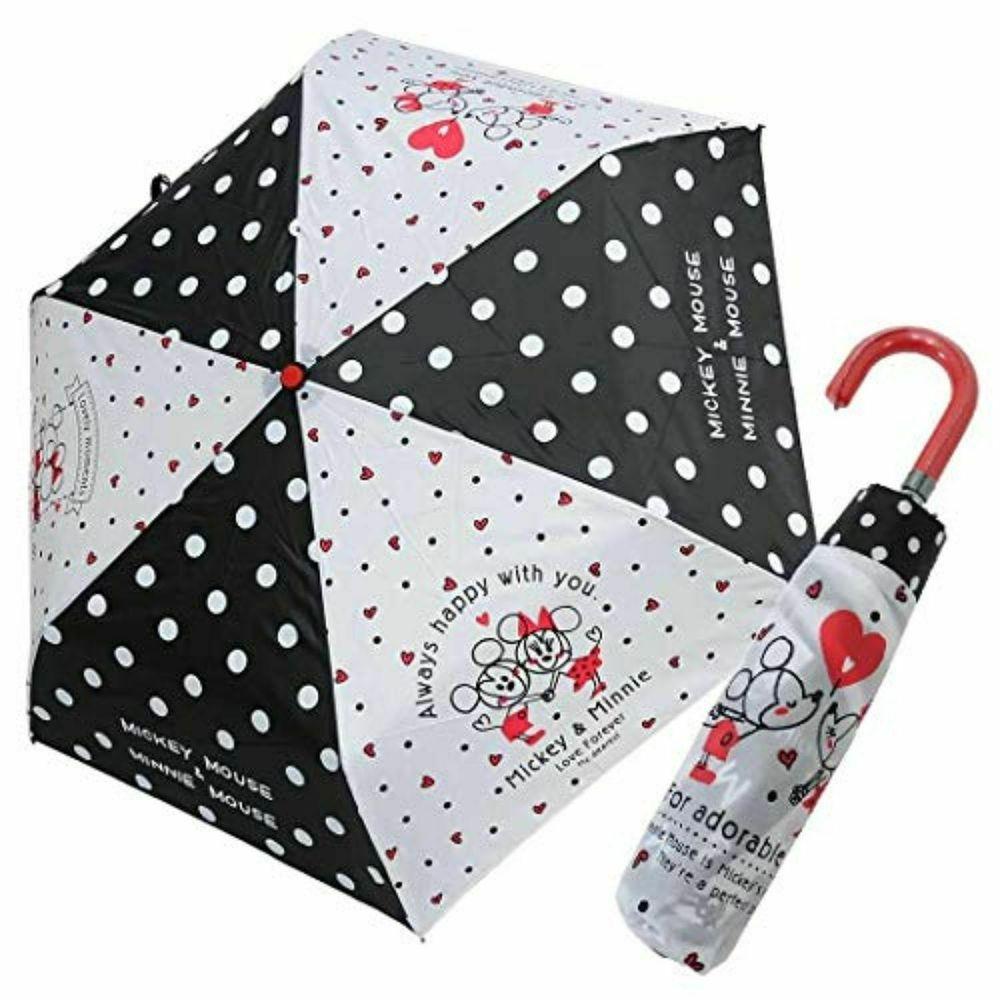 日本代購 - 卡通折疊雨傘-線條米奇米妮 (53cm(125cm以上))