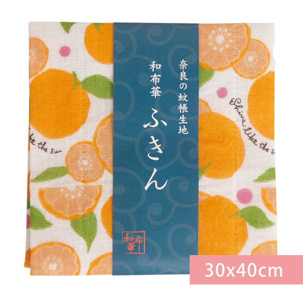 日本代購 - 【和布華】日本製奈良五重紗 方巾-柑橘 (30x40cm)