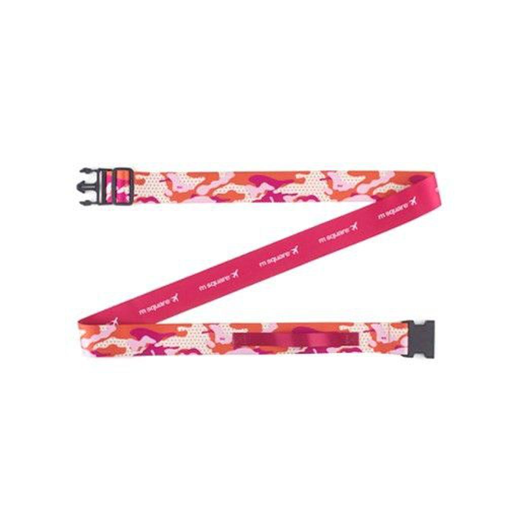 m square - 新款插扣行李帶-繽紛迷彩款-L號-迷彩紅