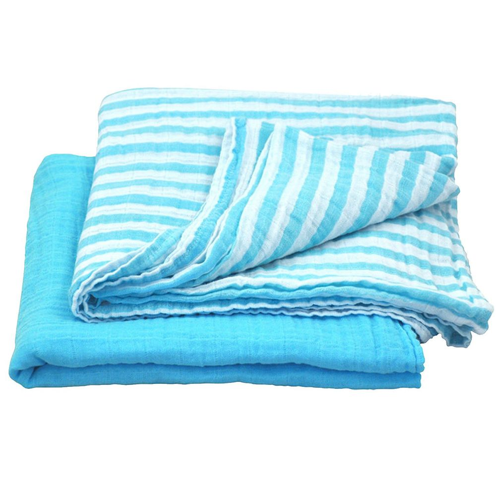美國 green sprouts - 有機棉細紗浴巾/包巾2入組-水藍組 (單一尺寸)