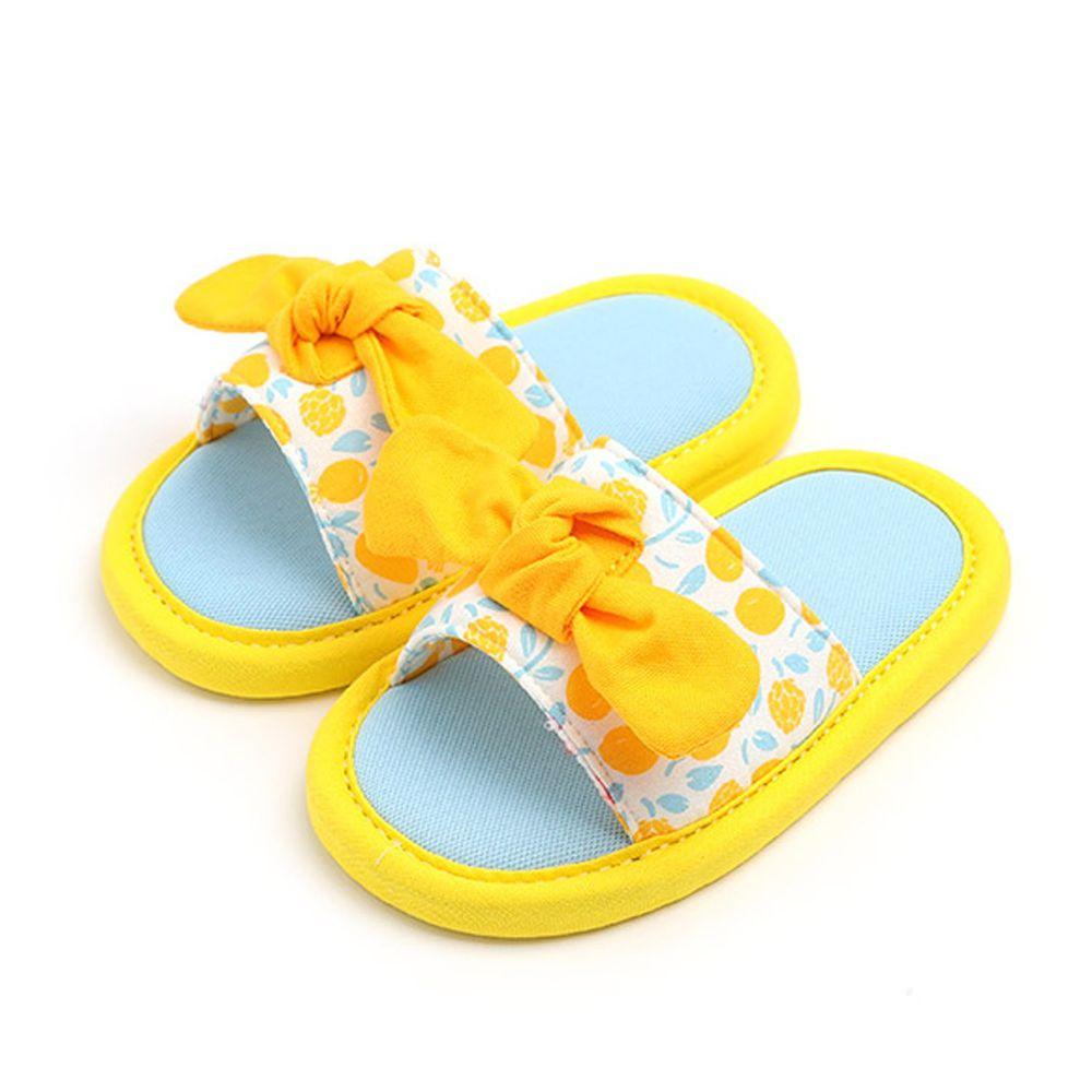 韓國 OZKIZ - 消音防滑室內鞋-拖鞋款(蝴蝶結)-黃
