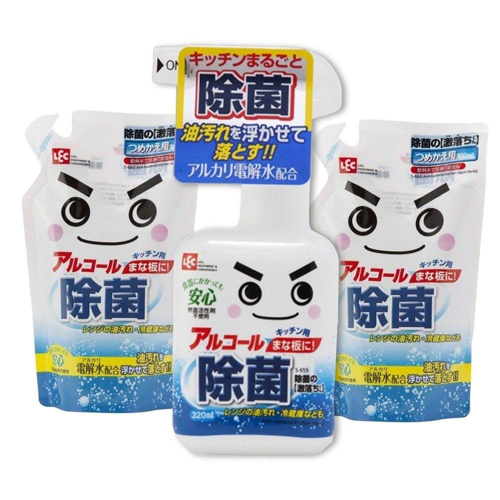日本 LEC - 激落防菌電解水特惠3入組-320ml*1標準瓶+300ml補充包*2包