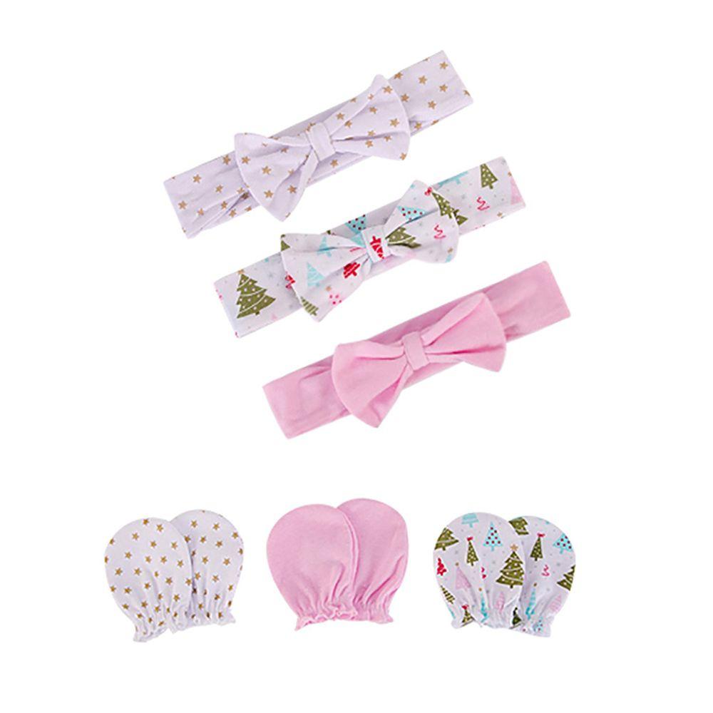 美國 Luvable Friends - 嬰幼兒新生兒髮帶3入組+100%純棉防抓手套護手套3入組-粉色聖誕節 (0-6M)